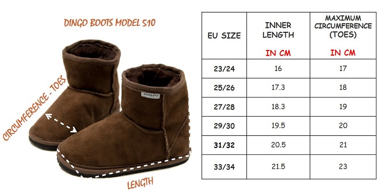 Dingo Boots Size Chart EN
